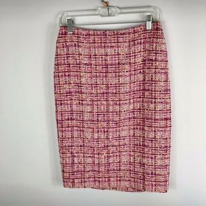 {Ellen Tracy} Pink Yellow March Tweed Pencil Skirt